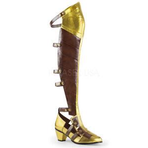 Gold Brown Wonder Woman Amazon Version Princess Cosplay Halloween Costume Boots