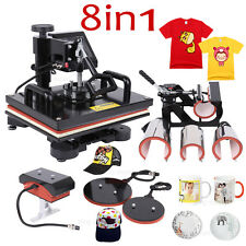 8in1 Heat Press Sublimation Printing Transfer Machine T-shirt Hat Mug Plate DIY