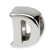 Initial Letter D Bead .925 Sterling Silver Reflection Beads