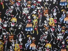 Skull Day of the Dead Skeleton Fabric Goth Rock Halloween by Metre