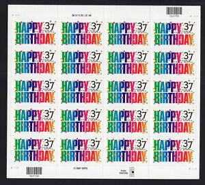 3695 37¢ Happy Birthday 2002 full sheet of 20 MNH Free USA Shipping quanity disc
