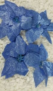 """Blue poinsettia christmas decoration 6"""" Clip on Glitter Lot of 4"""
