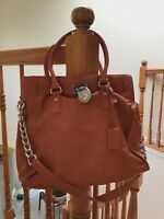 Michael Kors Hamilton Satchel Bag with Gold Chain - Burnt Orange