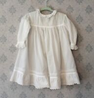 Antique Victorian to 1920s White Cotton Embroidered Whitework Baby's Dress