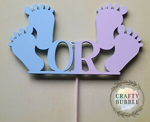 GIRL OR BOY BABY FEET gender reveal baby shower WOODEN cake topper NOT CARD