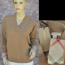 BURBERRY LONDON New sz L 100% Cashmere Authentic Designer Womens Sweater check