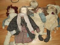Attic Babies & Raggady  Rag Dolls ( lot of 5)