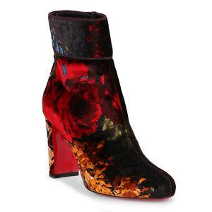 Christian Louboutin Moulamax 85 Floral Bouquet Velvet Ankle Boots Black 38