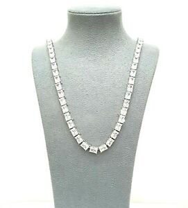 925 Sterling Silver Ice Jewlz Gold Finish Sparkly Icey 24 INCH Tennis Chain