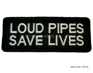 Loud Pipes Save Lives Biker Motorcycles Embroidered Iron on Patch UK SELLER