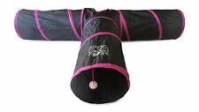 Black/Pink 3 Way Cat Tunnel Tube Toy - Extra LARGE And Extra LONG - Dogs Kittens