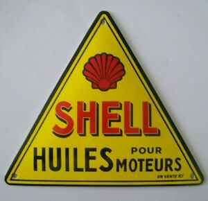 GOOD FRENCH RETRO STOVE ENAMEL SHELL CLAM MOTOR OIL BADGE SIGN MAN CAVE GARAGE