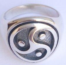 Solid Sterling Silver 925 Triskel BDSM Triskelion Triskele 3D Ring All Sizes