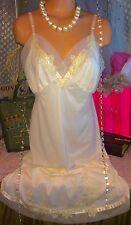 Vintage Vanity Fair Nude Sheer Lace Chiffon Full Slip Nylon Pinup Lingerie 38 L