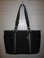 Coach Lurex Signature Gallery Shimmer Black Silver Tone Studded Tote Handbag EUC