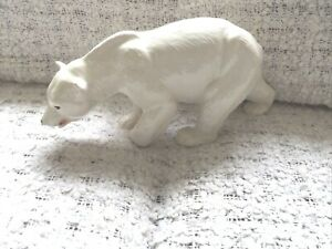 LARGE POLAR BEAR CERAMIC HAS A NAME ON THE BASE VERY WORN A FEW MINOR MARKS