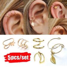 5piezas Ear Cuff Clip On Earrings Pendiente de cartílago falso sin perforación