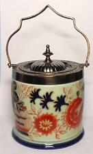 IRON STONE BISCUIT BARREL WITH METAL FITTINGS IN AN ORIENTAL DESIGN