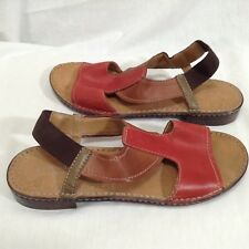 30cda871f297a8 Naturalizer 9.5 M Red Brown Two Tone Leather T Strap Sandals Elastic Heel  Ringo
