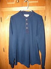 EDDIE BAUER Navy banded collar thermal weave henley/Military/Sportsman shirt/L/