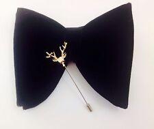 Oversized Velvet Handmade pre-tied black Tuxedo bow tie /Deer Head Lapel Pin Set