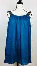 SALUA Antelier Lingerie Betty Baby Doll Chemise Cotton Silk Blend One Size Blue