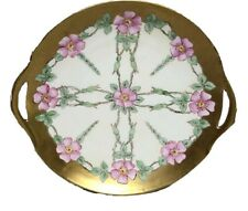 "Limoges France Pierced Handled 11"" Round Plate Gold Band Trim Pink Flower Signed"