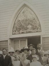 ANTIQUE CHRISTIAN CHURCH STAINED GLASS GOTHIC ARCH SUNDAY SCHOOL GOD RPPC PHOTO