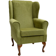 Lime Topaz Fabric Wing Back Orthopaedic Fireside Chair - NEW