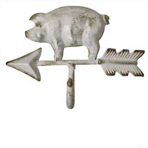 Hook Pig White with Arrow Country Farmhouse Farm