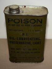 VINTAGE SOCONY-VACUUM OIL COMPANY PL OIL LUBRICATING PRESERVATIVE CAN POISON