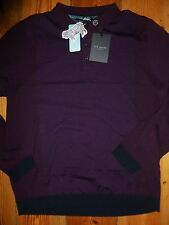 TED BAKER WAYWIN PANELLED KNITTED POLO SHIRT TOP LONG SLEEVED SIZE 5 = XL NWT