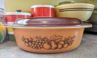 Vintage Pyrex Old Orchard No. 045, 2 1/2 Quart Casserole Dish W/ Original Lid