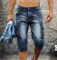 FASHION NEW MENS SIZE 28-40 CARGO CASUAL BLUE DENIM POCKET WALK SHORTS JEANS