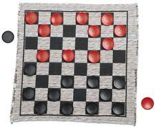 Jumbo Checker Rug Board Game Kid Safe Playing Tic Tac Toe Fun Family Mat Piece