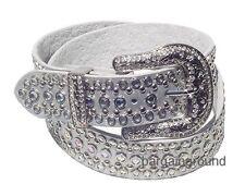 Western AB Rhinestone Crystal Bling Stud Silver Snap On Buckle Leather Belt L ML