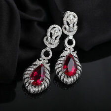 18ct White Gold Stunning Natural Rubies and Diamonds Earrings GBP £15000