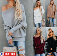 Women One Shoulder Blouse Shirt Sweater Ladies Long Sleeves Pullover Jumper Tops