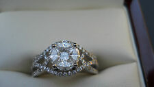 1.54 Total Carat H-SI1 Certified Natural Quad-Cluster Diamond Engagement Ring
