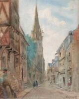 STREET LANDSCAPE BAYEUX FRANCE Antique Watercolour Painting c1880 SIGNED