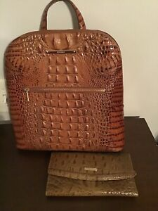 Brahmin FELICITY Toasted Almond Melbourne Leather Backpack Purse w Coord Wallet