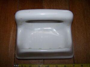Vintage White Porcelain Mid Century Deco Soap & Wash Rag Holder