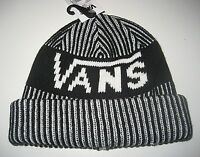 Vans Shoes Striped Cuff Beanie Winter Hat Cap Black White OSFA NWT Free Ship