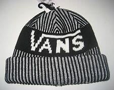 Vans Shoes Striped Cuff Beanie Winter Hat Cap Black White OSFA NWT Free Ship