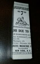 Antique Humphreys Homeopathic Medicine NOS #7 Coughs Due to Colds
