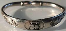 Vintage Chinese Solid Silver Bangle/Bracelet Adjustable Size Chinese Hallmarks