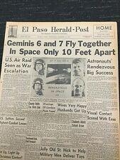 Gemini 6 and 7 - Space Flight - Rendezvous - 1965 El Paso, Texas Newspaper