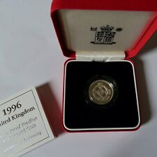 More details for 1996 piedfort silver proof one  pound coin+box+coa