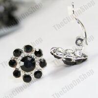 NON-PIERCED austrian crystal 1.5cm FLOWER CLIP ON EARRINGS silver tone clips
