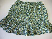 Girls Size 14 Lands End Green Floral Cord Skirt